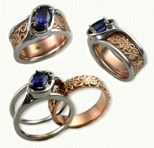reverse cradle rings gold platinum custom engagement rings settings by designet. Black Bedroom Furniture Sets. Home Design Ideas
