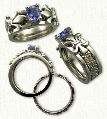 14KW Fleur-de-lis Reverse Cradle set with an emerald cut Blue Sapphire