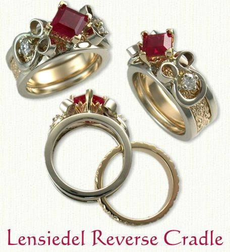 14Kt Lensiedel reverse cradle with 1.07ct princess cut ruby and two accent diamonds