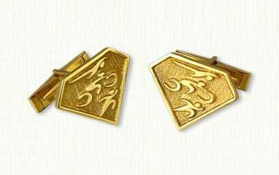 TriVault cufflinks in gold, 22x17mm, Regular Etch