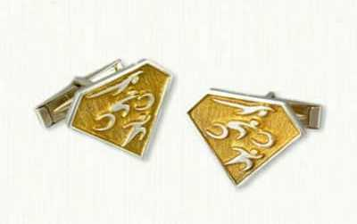 TriVault cufflinks in gold plated sterling silver, 22x17mm